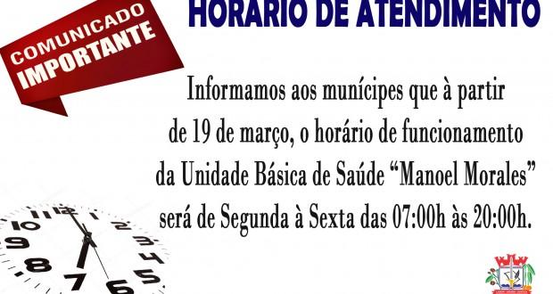 """HORÁRIO DE FUNCIONAMENTO UBS """"MANOEL MORALES"""""""